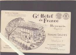 Grand Hotel De France - Meyrueis Lozere - Note - Cartoncini Da Visita