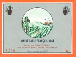 étiquette Vin De Table Français Rosé Gilbert Contant à Billy Sous Les Cotes -11,5°/° - 75 Cl - Pink Wines