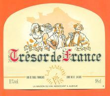 étiquette Vin De Table Français Trésor De France Maison Du Vin à Auboué -11°/° - 98cl - Red Wines