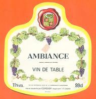 étiquette Vin De Table Ambiance Cordier à 54200 -11°/° - 99cl - Red Wines
