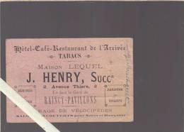 Hotel De L'arrivée  Henry - Raincy Pavillons - Horaires Décembre 1903 - Ligne De Paris à Raincy - Cartoncini Da Visita