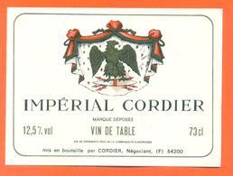 étiquette Vin De Table Impérial Cordier à 54200 -12,5°/° - 73cl - Aigle Royal - Red Wines