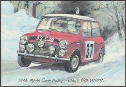 Mini Cooper At The 1964 Monte Carlo Rally - Golden Era Postcard - Passenger Cars