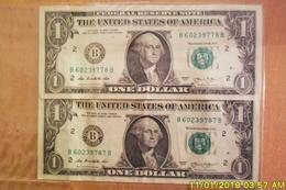 """Lot 2 Billets De 1 Dollar 2003(  Même Série"""" Et Meme """"Prefixe"""" Et""""Suffixe""""B"""" Numéro Qui Se Suivent à Une Inversion Prête - Collections"""