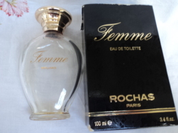 """ROCHAS"""" FEMME """" FLACON VIDE ( Pas Vapo) CONTENAIT 100 ML + BOITE  CORRECTE   LIRE ET VOIR !! - Modern Miniatures (from 1961)"""