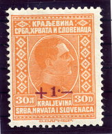 YUGOSLAVIA 1926 Flood Relief Surcharge  On 30 D. MNH / **.  Michel 211 - 1919-1929 Kingdom Of Serbs, Croats And Slovenes