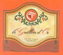 étiquette Ancienne Vin De Table Le Grillon D'or Castel Frères à Fléville Sud - 12 °/° - 98 Cl - Red Wines