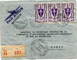 CAMEROUN FRANCE LIBRE LETTRE RECOMMANDEE PAR AVION CENSUREE DEPART DOUALA 4 JUIL 1945 CAMEROUN POUR LA FRANCE - Cameroun (1915-1959)