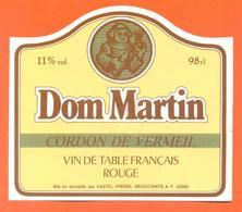 étiquette Ancienne Vin De Table Dom Martin Castel Frères à Fléville - 11 °/° - 98 Cl - Red Wines