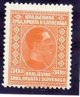 YUGOSLAVIA 1926 King Alexander Definitive 30 D. MNH / **.  Michel 199 - 1919-1929 Kingdom Of Serbs, Croats And Slovenes