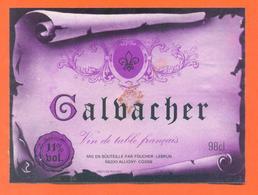 étiquette Ancienne Vin De Table Galbacher Foucher Lebrun à Alligny Cosne - 11 °/° - 98 Cl - Red Wines