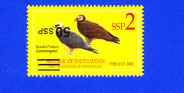 SOUTH SUDAN Stamp ERROR!!! 50 SSP INVERTED Overprint On 2 SSP Birds Bearded Vulture Südsudan Soudan Du Sud - Sud-Soudan