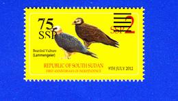 SOUTH SUDAN Stamp Unissued Proof 75 SSP Overprint On 2 SSP Birds Bearded Vulture Südsudan Soudan Du Sud - South Sudan
