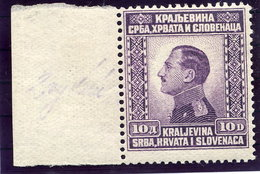 YUGOSLAVIA 1924 King Alexander Definitive 10 D. MNH / **.  Michel 182 - 1919-1929 Kingdom Of Serbs, Croats And Slovenes