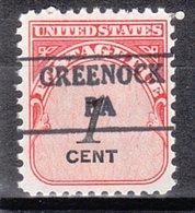 USA Precancel Vorausentwertung Preo, Locals Pennsylvania, Greenock 882 - Vereinigte Staaten