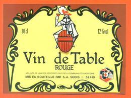 étiquette Ancienne Vin De Table Rouge Sodis à 52410 Eurville - 12 °/° - 98 Cl - Mousquetaire - Red Wines