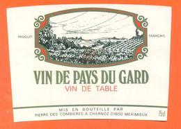 étiquette Vin De Pays Du Gard Pierre Des Combières à Charnoz - 75 Cl - Red Wines