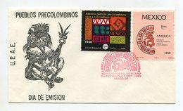 MEXICO 1989 FDC COVER UPAE AMERICA PUEBLOS PRE-COLUMBUS Mi#2146-47 - Mexico