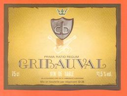 étiquette Ancienne Vin De Table Gribauval à 52.38 - 11,5 °/° - 75 Cl - Red Wines