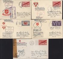 WW2 World War 2 5 Lettres US ARMY POSTAL SERVICE APO 32 Logan Village 7 Censures Différentes Censored - Postmark Collection
