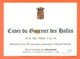 étiquette Cuvée Du Gourmet Des Halles - Lecompte Restaurateur à Vitry Le François Mommessin - 12,5 °/° - 37,5 Cl - Red Wines