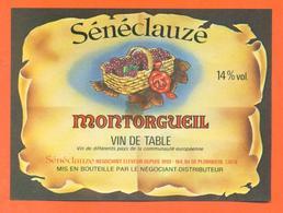 étiquette Ancienne Vin De Table Montorgueil Sénéclauze à Plombiere- 14 °/° - Red Wines