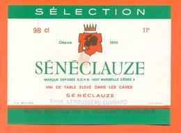 étiquette Ancienne Vin De Table Sénéclauze Lerousseau à Arc En Barrois - 11 °/° - 98 Cl - Red Wines