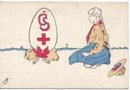 SCOUTISME  /  FEMME  SCOUTE  Près  Du  Feu  /  Inscription  :  CS  Croix Rouge  /  Carte  Dessinée  TCHÉQUIE - Scouting