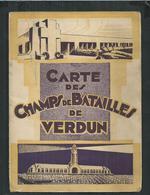 Carte Des Champs De Bataille De Verdun (Meuse) Avec Pub Autocars Citroën H Sommer - Geographical Maps
