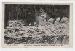 39011216 - Thale I.H. Mit Hochwasserkatastrophe Im Bodetal. Umbrauste Pegelhaeuschen Am Waldkater, 30. Dezember 1925 Un - Thale