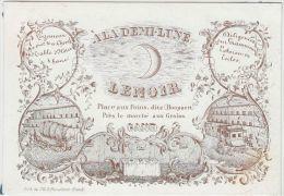 24071g DILIGENCES - LOGEMENT - TABLE D'HOTES - DEMI LUNE - LENOIR - Place Aux Foins - Gand - Carte Porcelaine 13x9c - Cartoncini Da Visita