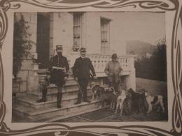 Grande Photo Sur Carton  - Scène De Chasse, Officier Forestier (?)  Et Rabatteurs, Meute Chiens L372A - Persone Anonimi
