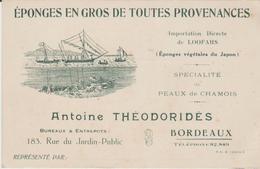 """GIRONDE:  """" EPONGES EN GROS TOUTES PROVENANCES"""" Antoine Théodoridès à Bordeaux/ Avis De Passage TB - Postmark Collection (Covers)"""