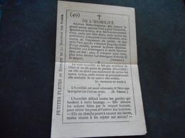 """Petit FEUILLET Double """"DE L'HUMILITE"""" - Monastère De La Visitation Paris - Religion & Esotérisme"""