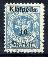 MEMEL (Lithuanian Occ) 1923 (7 Feb) 10 M. On 5 C. Error - Memel Omitted, Used.  Michel 129 I - Klaipeda