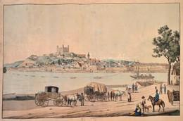 Cca 1800 Presburg / Pozsony Színezett Rézmetszet? Látképe A Duna Túlpartjáról. A Folyón Hajókkal, Az El?térben Alakokkal - Engravings