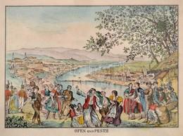 Cca 1830 Ofen Und Pesth, Pest-Buda Látképe Dél Fel?l, Hajóhíddal, Az El?térben Mulató Emberekkel, Színezett Rézmetszet,  - Engravings