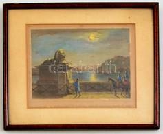 Ludwig Rohbock (1820-1883): A Hídon Pest és Buda Között / Auf Der Brücke Zwischen Pesth Und Ofen, Színezett Acélmetszet, - Engravings