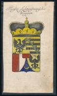 Cca 1700-1800 Liechtenstein Címere, Színezett Rézmetszet, Papír, Kartonra Ragasztva, 19,5×10,5 Cm /  Cca 1700-1800 The C - Engravings