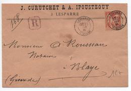 1885 - ENVELOPPE RECOMMANDEE De LESPARRE (GIRONDE) Avec TYPE SAGE N°94 - Marcophilie (Lettres)