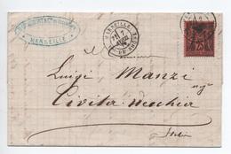 1879 - LETTRE De MARSEILLE Pour CIVITA VECCHIA (ITALIE / ITALIA) Avec SAGE N°91 - Marcophilie (Lettres)