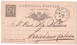 QS6  REGNO 1889 INTERO POSTALE  UMBERTO I 10 C.  Da NAPOLI Per CORIGLIANO CALABRO - Interi Postali