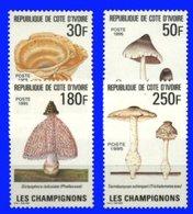 YVORY COAST, 1995, FLORA, MUSHROOMS, YV#950-53, MNH - Ivory Coast (1960-...)