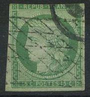 Cérès 15c. Vert Oblitéré Grille Sans Fin, Yvert N°2, Filet Touché En Haut. - 1849-1850 Cérès