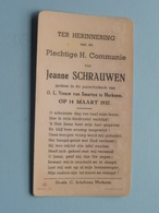 Jeanne SCHRAUWEN Op 14 Maart 1937 - O.L.Vrouw Van Smarten Te MERKSEM  ( Zie/voir Photo ) ! - Communion