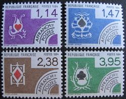 LOT FD/1814 - 1984 - TIMBRES PRE-OBLITERES NEUFS** - CARTES A JOUER - N°182 à 185 (SERIE COMPLETE) - 1964-1988