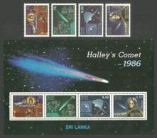 SRI LANKA 1986 SPACE HALLEY COMET SET & M/SHEET MNH - Sri Lanka (Ceylon) (1948-...)