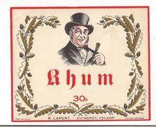 Etiquette  Rhum  30° - R.Lapert, Entrepôt Fécamp -  Imprimeur Frère, Tourcoing - - Rhum