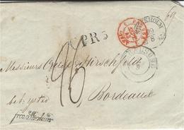 """1843- Letter From STOCKHOLM To Bodreaux ( France )  C P R 5  + Frco. Stralsun + Manuscript  """" Frfs Ystar """"  Rating 26 D. - Schweden"""