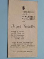 August TONNELIER Op 22 Mei 1949 - O.L.Vrouw Van Den H. Rozenkrans Te WESTRODE ( Zie/voir Photo ) ! - Communion